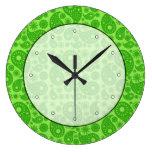 Paisley verde reloj de pared