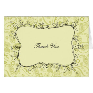 Paisley Vines Taupe Thank You Card