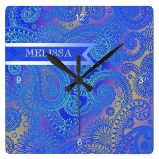 Paisley w/Ribbon Blue Square Wall Clock