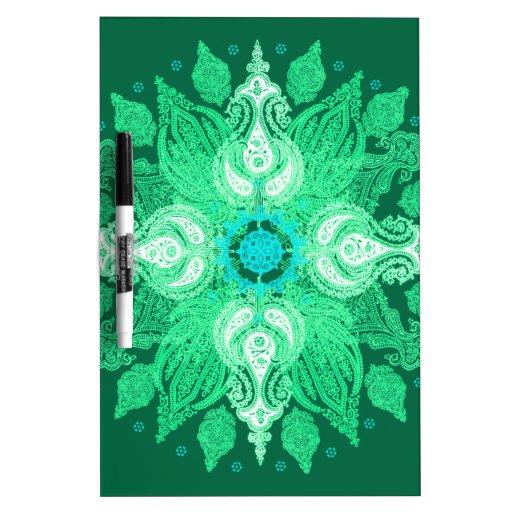 Paisley wheel emerald green sun flower dry erase white board