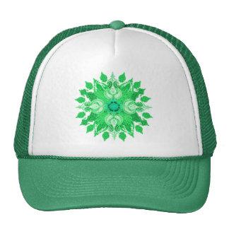 Paisley wheel green sun flower trucker hat