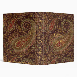 Paisley Wine Gold Sage Shades Notebook Binder