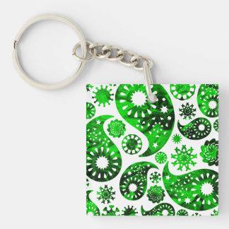 Paisley with Green Swirl Pattern Keychain