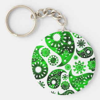 Paisley with Green Swirl Pattern Key Chains