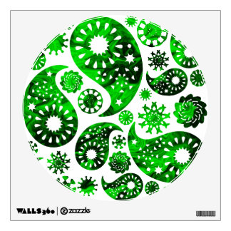 Paisley with Green Swirl Pattern. Wall Graphics