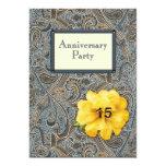 Paisley y fiesta de aniversario color de rosa 15 invitación 12,7 x 17,8 cm