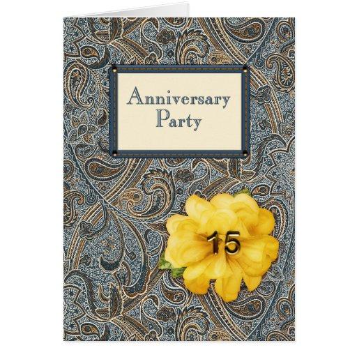 Paisley y fiesta de aniversario color de rosa 15 tarjeta de felicitación