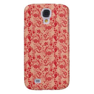 Paisley y flores Pern en rojo y melocotón Carcasa Para Galaxy S4