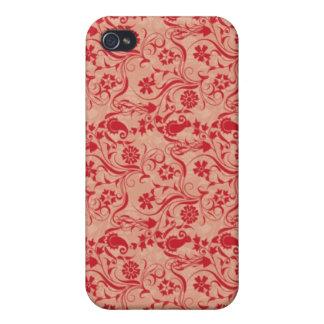 Paisley y flores Pern en rojo y melocotón iPhone 4 Coberturas