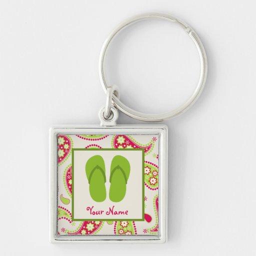 Paisley y los flips-flopes verdes personalizaron llavero