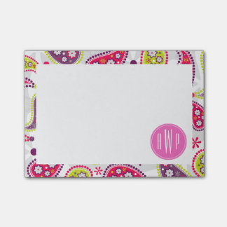 Paisley y monograma rosado post-it nota