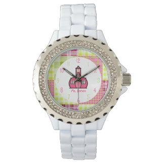 Paisley y reloj rosado del profesor de la escuela