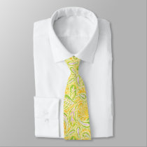 Paisley Yellow Green and Purple Pattern Neck Tie