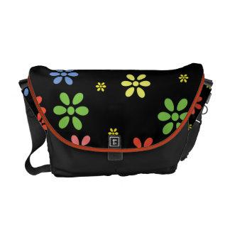 Paisleys and Hydrangea On Black Rickshaw Messenger Courier Bag