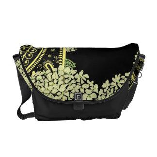 Paisleys and Hydrangea On Black Rickshaw Messenger Commuter Bags