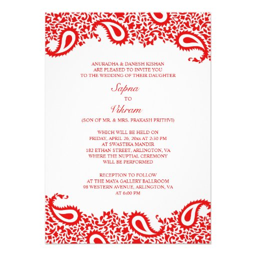 Paisleys Elegant Indian Wedding Flat Invitation 5 Quot X 7
