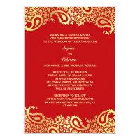 Paisleys Elegant Indian Wedding Flat Invitation
