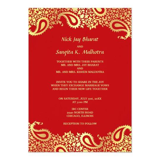 Paisleys Elegant Indian Wedding Flat Invitation Zazzle com