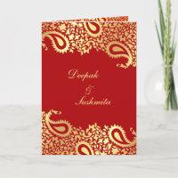 Paisleys Elegant Indian Wedding Folded Invitation