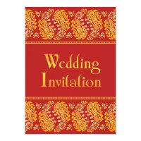 Paisleys Indian Wedding Flat Invitation