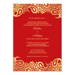 "Paisleys Red Wedding Flat Invitation 5"" X 7"" Invitation Card"