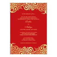 Paisleys Red Wedding Flat Invitation