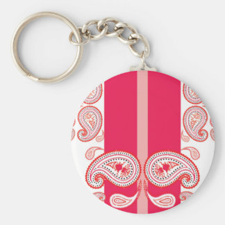 Paisleys rosados llavero redondo tipo pin
