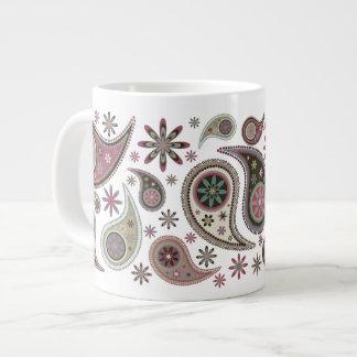 Paisleys & Stars - Mauve - 1 20 Oz Large Ceramic Coffee Mug