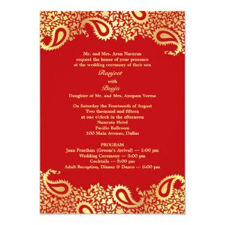 Paisleys Wedding with Programs Flat Invitation