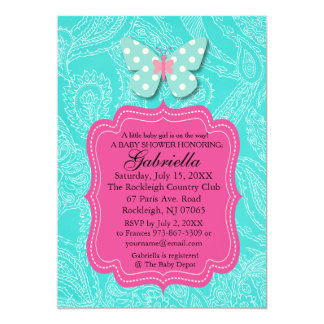 Paisly Blue with Butterfly Baby Shower Invitation