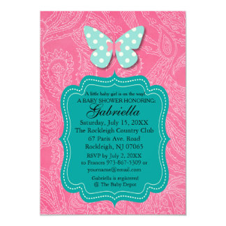 Paisly Pink with Butterfly Baby Shower Invitation