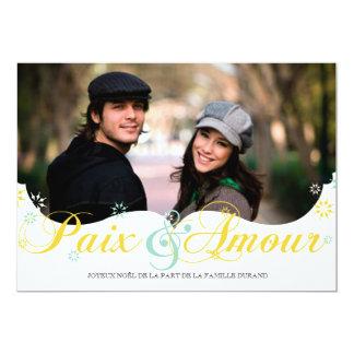 Paix et D'amour Carte de Noël 5x7 Paper Invitation Card