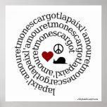 Paix, l'amour et mon escargot posters