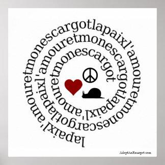 Paix, l'amour y escargot de lunes póster
