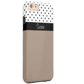 Paja Brown, bloque blanco negro del monograma del Funda Para iPhone 6 Plus Tough