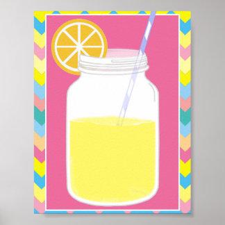 Paja rosada colorida el | Chevron de la limonada d Póster