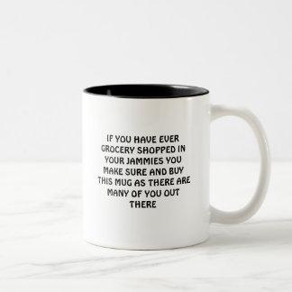 Pajama grocery shopper mugs