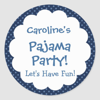 Pajama Party Cute Polka Dot Pattern Party Favor Classic Round Sticker