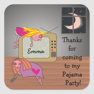 Pajama Party Cute Thank You Stickers