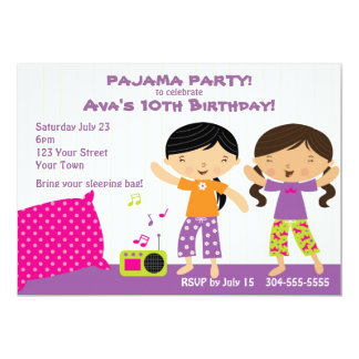"""Pajama Party for Girls 5"""" X 7"""" Invitation Card"""