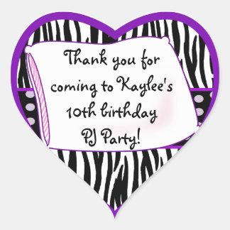 Pajama Party Heart Purple Sticker