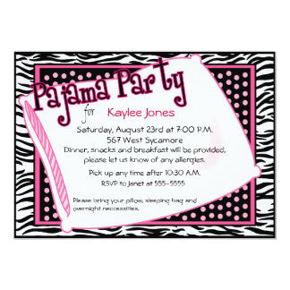 Pajama Party In Black and Pink Dots Card