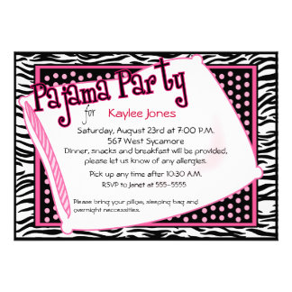 Pajama Party In Black and Pink Dots Personalized Invite