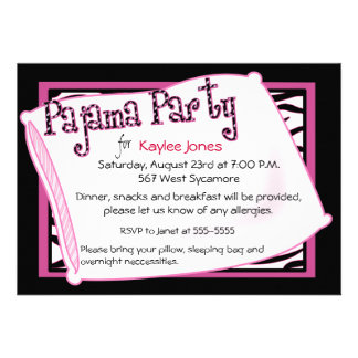 Pajama Party In Black and Pink Custom Invitation