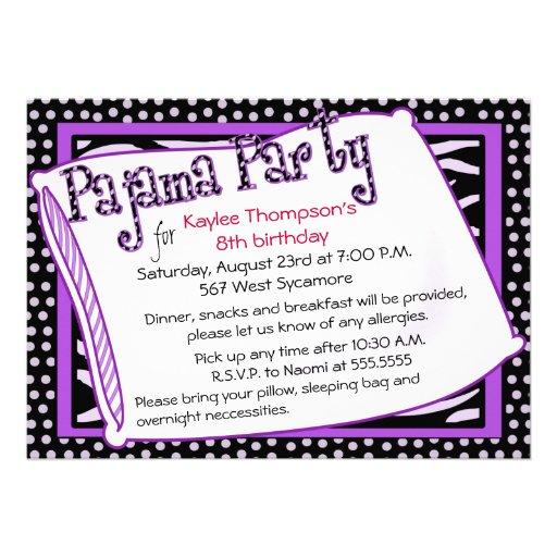 Pajama Party In Black and Purple Custom Invitation