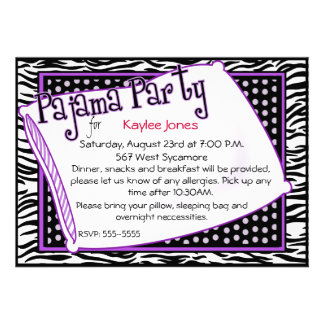 Pajama Party In Black and Purple Personalized Invitations