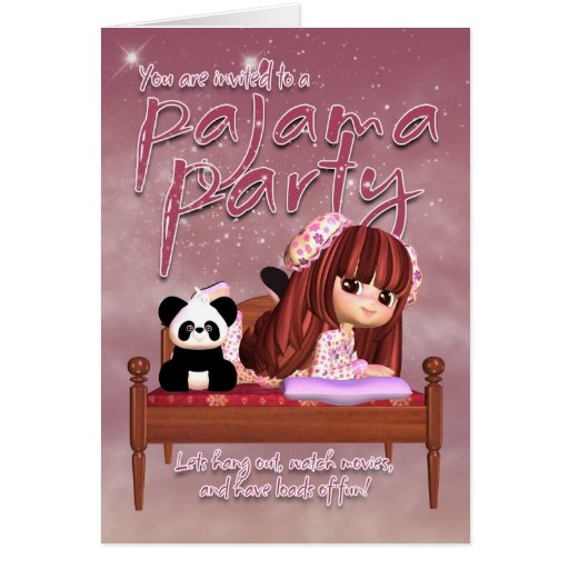 Pajama Party Invitation Card