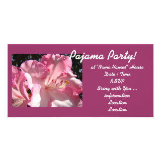 Pajama Party! invitations cards Pink Rhodies Girls Personalized Photo Card