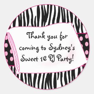 Pajama Party Round Pinks Sticker