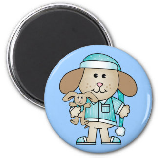 Pajama Puppy & Lovey Bunny 2 Inch Round Magnet
